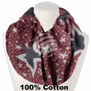 Ladies loop scarf stars red