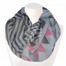 Damen Loopschal Dreiecke Streifen grau anthrazit