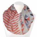 Damen Loopschal Dreiecke Streifen weiß orange blau