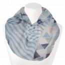 Damen Loopschal Dreiecke Streifen weiß hellblau