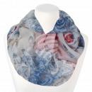 Damen Loopschal Rosen floral cremeweiß blau rot