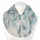 Damen Loopschal Federn weiß hellblau türkis beige