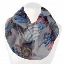 Damen Loopschal Blumen hellgrau grau blau rosa