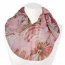Damen Loopschal Blumen rosa beige lachsfarben