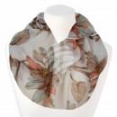 Damen Loopschal Blumen cremeweiß beige braun