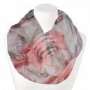 Damen Loopschal Blumen floral cremeweiß rosa grau