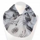 Damen Loopschal Blumen Federn weiß grau anthrazit
