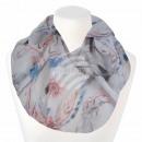 Damen Loopschal Blumen Federn weiß rosa blau grau