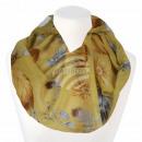 Ladies loop scarf flowers feathers yellow cream br