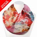 Damen Schal Loopschal Loop rot multicolor Blüten