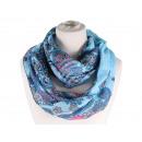 Damen Herren Schal. Blumenornamente, hellblau