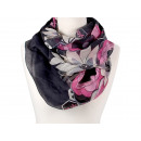 Damen Herren Schal große Blüten grau