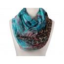 Großhandel Tücher & Schals: Damen Herren Schal Bathik Leopard hellblau