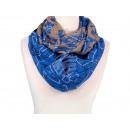 Damen Herren Schal Blumen blau