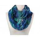 Großhandel Fashion & Accessoires: Damen Herren  Schal Blumen Streifen blau