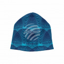 Knitted Hat Long Beanie Slouch Cap Blue Circles