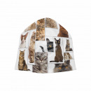 Knitted Hat Long Beanie Slouch Beanie white cats