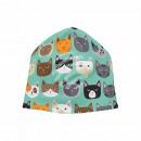 Strickmütze Long Beanie Slouch Mütze grün Katzen