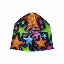 Knitted Hat Long Beanie Slouch Beanie black star