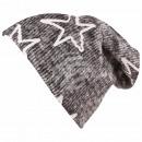 Long Beanie Slouch Mütze grau anthrazit meliert