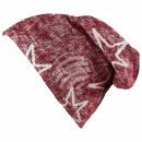 Long Beanie Slouch Mütze rot grau meliert