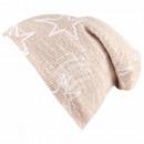 Long beanie slouch beanie beige cream knit pattern