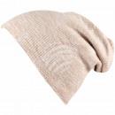 Long Beanie Slouch Mütze beige creme meliert