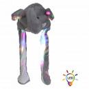 Wackelohr Mütze mit LED Beleuchtung Elefant grau