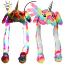 wholesale Costumes: LED wobbly ear cap unicorn rainbow sorting