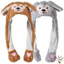 LED Wackelohr Mütze Affe braun weiß ca. 32 cm x 54