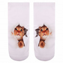 wholesale Fashion & Apparel: Motif socks kitten white beige