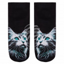 wholesale Stockings & Socks: Scene Socks cat  black and white turquoise
