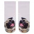 wholesale Stockings & Socks: Motif socks pug white beige pink