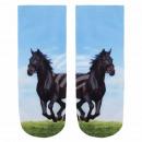 Großhandel Strümpfe & Socken: Motiv Socken schwarzes Pferd blau schwarz grün