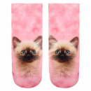 Großhandel Strümpfe & Socken: Motiv Socken Kätzchen rosa beige braun