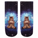 wholesale Fashion & Apparel: Scene Socks cat  meditates in the universe black bl