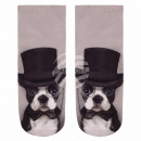 wholesale Fashion & Apparel: Motif socks dog with cylinder gray white