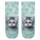 wholesale Stockings & Socks: Motif socks kitten Sky blue Grey Pink