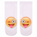 Motif socks Emoticon stretched tongue out white ge
