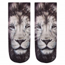 Motif socks lion white black