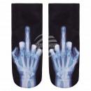 Motif socks X-middle finger white black