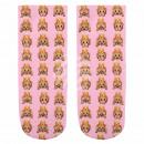 wholesale Stockings & Socks: Scene sock monkey  with crown pink beige yellow