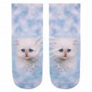 Großhandel Strümpfe & Socken: Motiv Socken Kätzchen blau weiss rosa