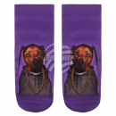 Scene dog socks  with braids purple brown gray