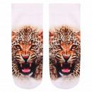 wholesale Stockings & Socks: Motif socks  Cheetah white beige brown