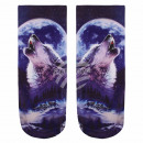 Großhandel Strümpfe & Socken: Motiv Socken Heulender Wolf schwarz weiss blau