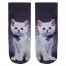 Motif socks kitten black white blue