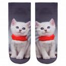 Großhandel Strümpfe & Socken: Motiv Socken  Kätzchen grau weiss rot