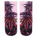 Motiv Socken Weed Hanf Cannabis rosa orange lila