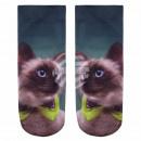 Motif socks Kitten petrol beige green